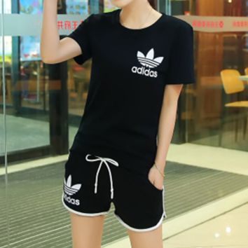 """Adidas"" Summer Fashion Casual Clover Letter Print Short Sleeve Set Two-Piece Sportswear"