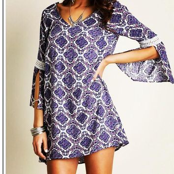 Berry Bell Sleeved Shift Tunic Dress