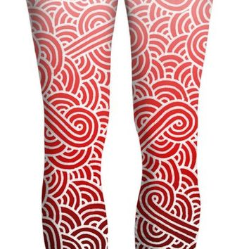 Ombre red and white swirls doodles Yoga Pants