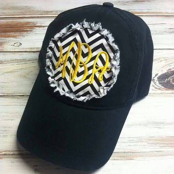 Monogrammed Patch Hat- Chevron Hat- Beach Hat