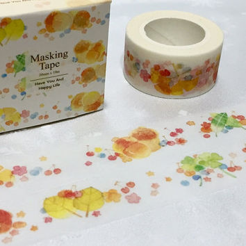 autumn leaves washi tape 10M x 2CM colorful leaves Fall leaves scenes Landscape deco tape yellow leaves golden leaves sticker tape scrapbook