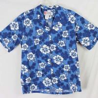 Hilo Hattie L size Mens Blue Floral Hawaiian Shirt Vacation Party Aloha