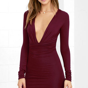 Curves Ahead Wine Red Bodycon Dress