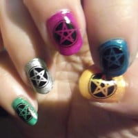 Nail Art DECALS 72 PENTACLE SYMBOLS Black Waterslide Wiccan Gothic SteamPunk