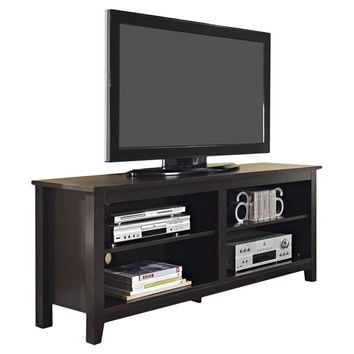 Espresso Wood Finish TV Stand Accommodates TVs up to 60inch