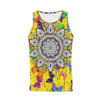 Men Tank Top Yellow Indian Mandala