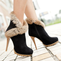 Sexy Stiletto Ankle Boots with Fur
