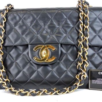 AUTHENTIC CHANEL JUMBO QUILTED BLACK LAMBSKIN LEATHER CC FLAP CHAIN SHOULDER BAG