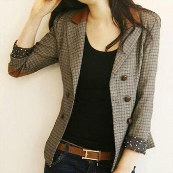 Korean Vintage Fashion Spring And Autumn Female Blazers Plaid Double Breasted Slim Suits Jackets Long Sleeve Woman Blazers Coats