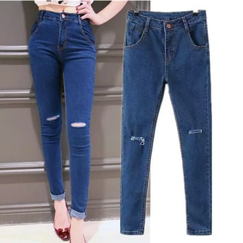 Korean Summer Women's Fashion High Rise Ripped Holes Rinsed Denim Jeans Slim Pen Skinny Pants [4919987012]