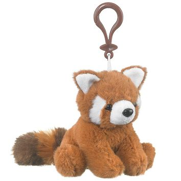 "Wildlife Tree 4"" Red Panda Stuffed Animal Clips for Kids Backpack Toy"