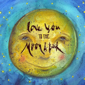 Love you to the moon and back. 10x10 watercolor print with pen & ink blue green sky blue mountains with evergreen trees on rolling hills