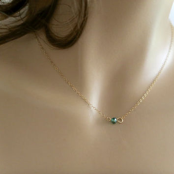 Emerald Necklace, Gold Filled Sterling Silver Delicate Chain, Tiny Bar Necklace, Single Stone Choker, Minimal Necklace, Simple Everyday