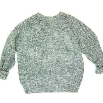 Oversize Waffle Knit Sweater Top Green White Marled Oversized 80s 90s Boyfriend Pullover Slouchy Loose Knit Retro Sweater Mens Large