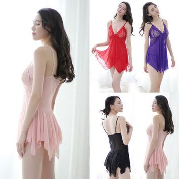 Women Lace Sleepwear Ladies Sexy Dress Nightwear Underwear Sleepwear Dress Women Sexy Sleepwear Dresses