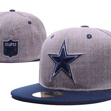 LMFON Dallas Cowboys New Era 59FIFTY NFL Football Cap Gray-Blue