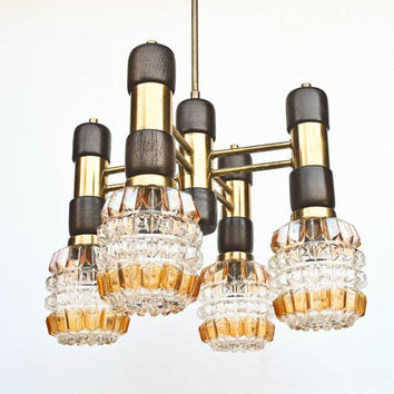 Vintage Ceiling Lamp / Four Bulbs Chandelier / Pendant Light /  Brass, Wood & Glass