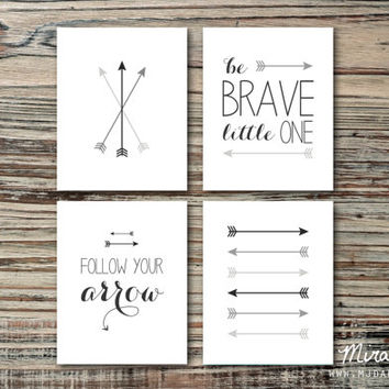 "Brave Baby Nursery Art Set, Arrow Nursery Art, Nursery Decor - Four 8x10"" Prints by MJDandSupply"