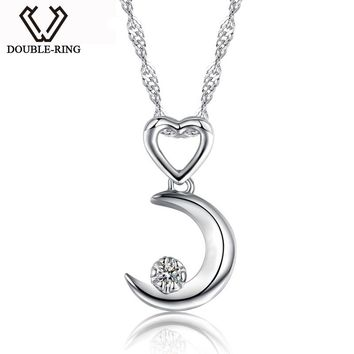 DOUBLE-R Moon Necklaces Pendants Women 0.03ct Diamond 925 Sterling Silver Pendants Anniversary Heart Jewelry Customized Gift Box