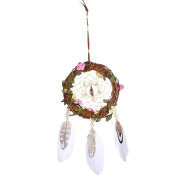 Handmade Dreamcatcher with Large Feather Bead