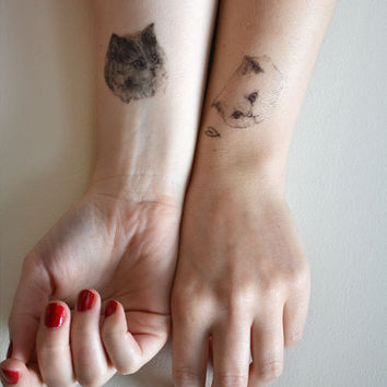 temporary tattoos - set of three fake cat tatts - 7designs to choose from - realistic tattoos - mix and match - cattoos