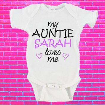 My Auntie Loves Me Custom Name Gerber Onesuit ®