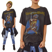 Vintage 80s Iron Maiden Somewhere On Tour Heavy Metal T Shirt Sz L