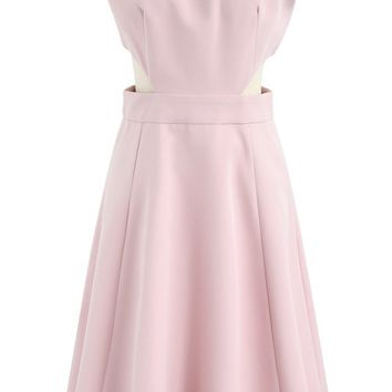 Keep on Dancing Off-Shoulder Dress in Candy Pink