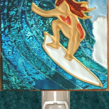 Artisan Made Surfer Girl Night Light Decorative Beach Ocean Coastal Nightlight Art and Stained Glass Bathroom Wall Surf Decor