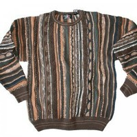 Brown & Orange Textured Cosby Style Tacky Ugly Sweater Men's Size Medium (M)