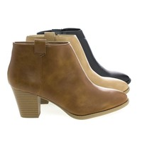 Zenith Taupe Pu By City Classified, Pointy Toe Zip Up Block Heel Ankle Boots