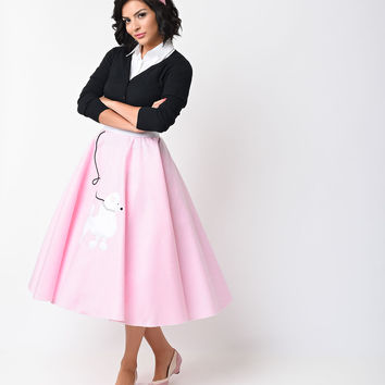 1950s Style Pink High Waist Classic Poodle Circle Skirt