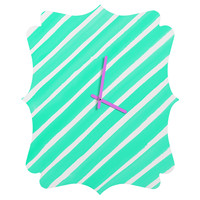 Rebecca Allen Pretty In Stripes Turquoise Quatrefoil Clock