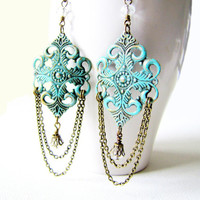 Boho or Victorian Style Chandelier Earrings Romantic Vintage Style Earrings Chain Chandelier Drop Earrings