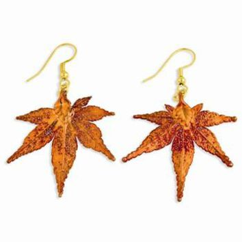 Iridescent Copper Dipped Japanese Maple Leaf Dangle Earrings