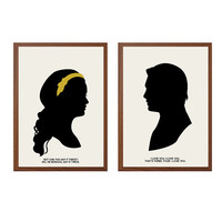 Say It Twice Poster : 'Chair' Modern Illustration Gossip Girl TV Series Retro Art Wall Decor - Set of Two Prints A4 11 x 8