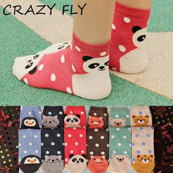 CRAZY FLY 2018 Spring Cartoon Cat Socks 3D Animals Style Striped Cotton Women Floor Harajuku Funny Socks meias
