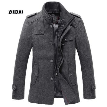 Trendy ZOEQO New Style Autumn and Winter Jackets Men Wool Jacket men's slim fit thickening Winter coat men,men Short Trench  Jacket AT_94_13