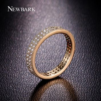 NEWBARK Classic Full Eternity Wedding Band Rings For Women Rose Gold Color 2 Rows CZ Paved Simple Jewelry Engagement Gifts