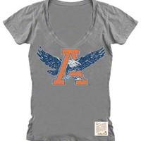 Auburn Tigers Women's Charcoal Retro Brand Vintage Mascot Deep V-neck T-Shirt