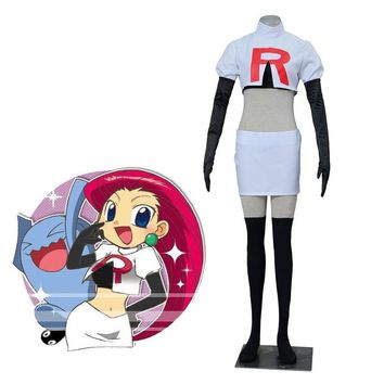 Anime Pocket Monster Pokemon Go Cosplay Pokemon Team Rocket Jesse Cosplay Costumes Women Cosplay Suit White Dress