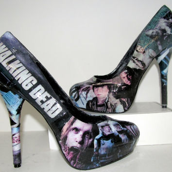 The Walking Dead Zombie High Heels  Made to Order by custombykylee
