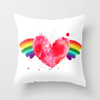 Love Win(g)s. Throw Pillow by Irmak Berktas