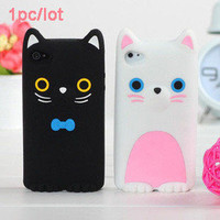 New 3D W/ Ear Cat Cute Soft Silicone Skin Back Cover Case For iphone 4 4S 4G