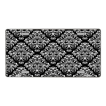 Smart Blonde Black | White Damask Print Vanity Metal Novelty License Plate Tag Sign