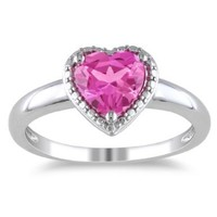 Sterling Silver Gemstone Heart Ring, Size 7