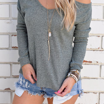 Dark Gray Cold Shoulder Sweater