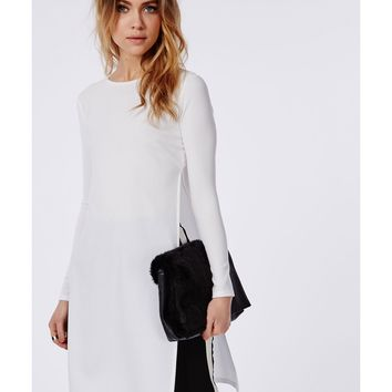 Missguided - Long Sleeve Side Split Shell Top White