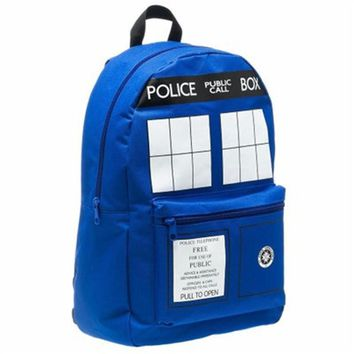 Doctor Dr Who Men's Tardis Backpack Police Box Bag Good Quality In Stock
