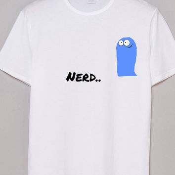 white Shirt with graphic pic of Blue from Foster Home Imaginary Friends heat press written Nerd